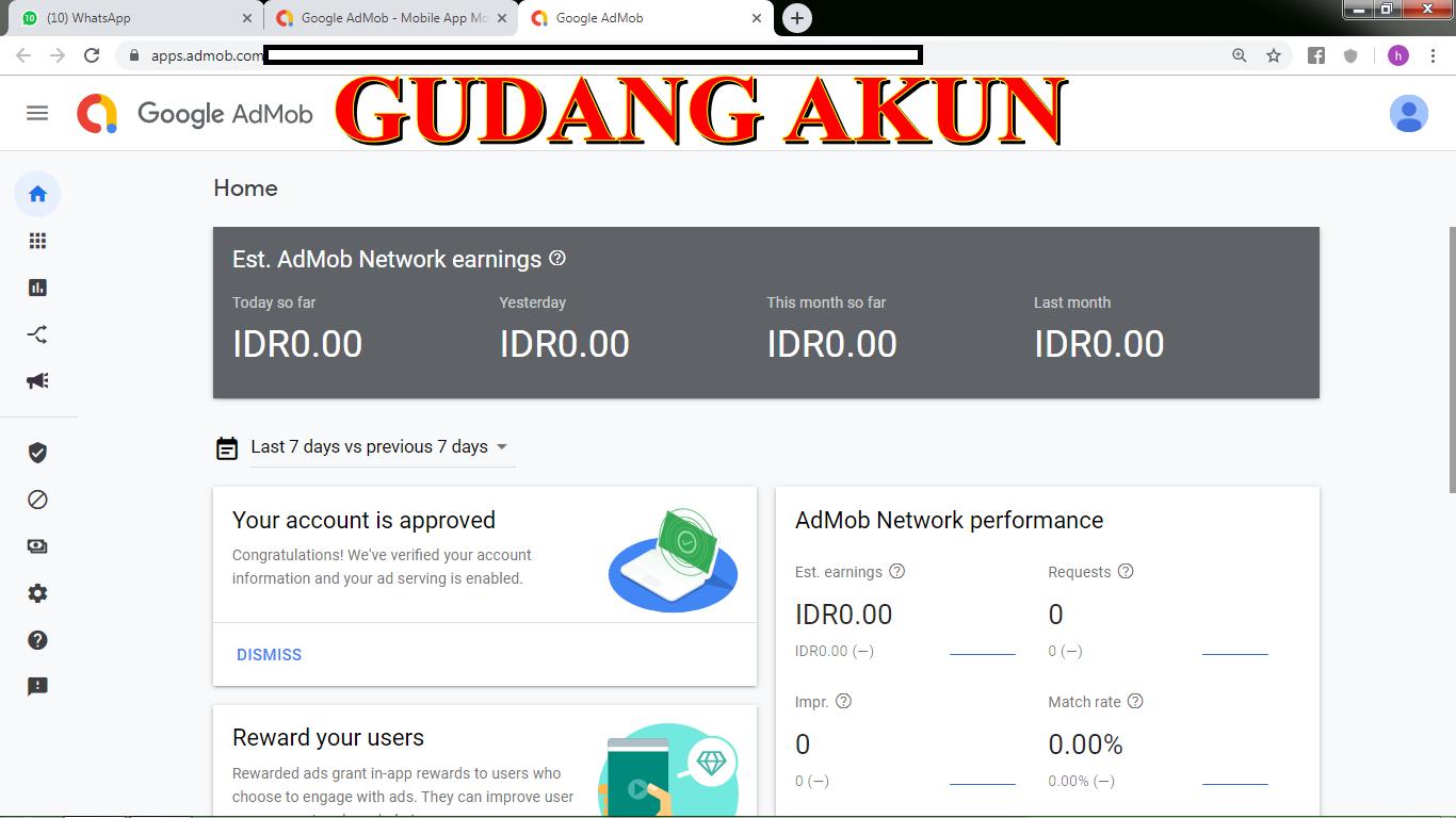 Beli  Produk Digital  AKUN ADMOB FRESH MURAH - Gudangakun